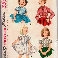 Simplicity 1287 Little Girls Toddler Front Button Blouse Petticoat Puff Sleeves Vintage Pattern - VintageStitching - Vintage Sewing Patterns