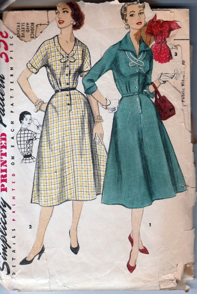Simplicity 1356 Vintage 1950's Sewing Pattern Ladies Buttoned Front Day Dress Pointed Collar - VintageStitching - Vintage Sewing Patterns