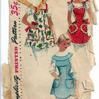 Simplicity 1359 Bibbed Apron Vintage Sewing Craft Pattern 1950s - VintageStitching - Vintage Sewing Patterns