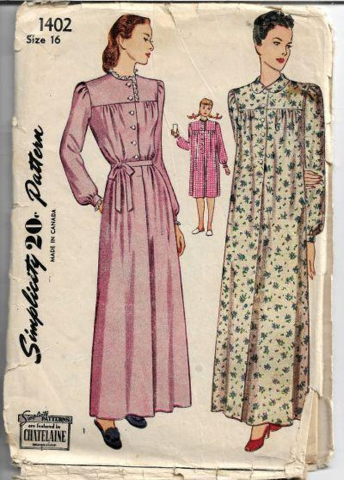 Simplicity 1402 Ladies Nightgown Lingerie Vintage Sewing Pattern 1940s - VintageStitching - Vintage Sewing Patterns