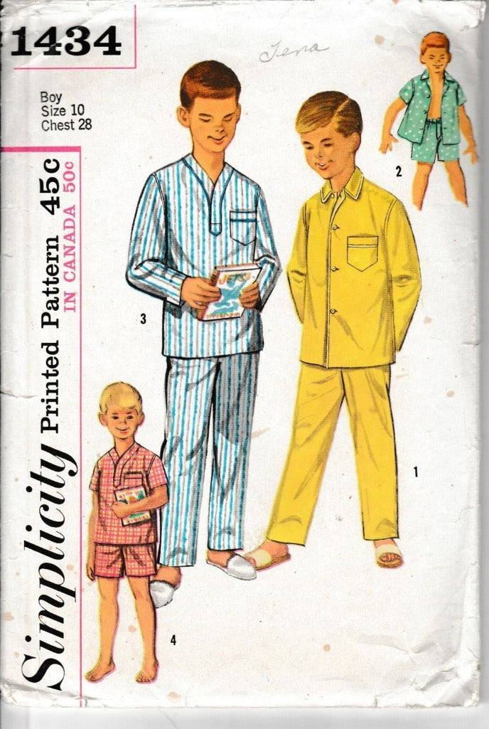 Simplicity 1434 Boys Two Piece Pajamas Vintage 1950's Sewing Pattern - VintageStitching - Vintage Sewing Patterns