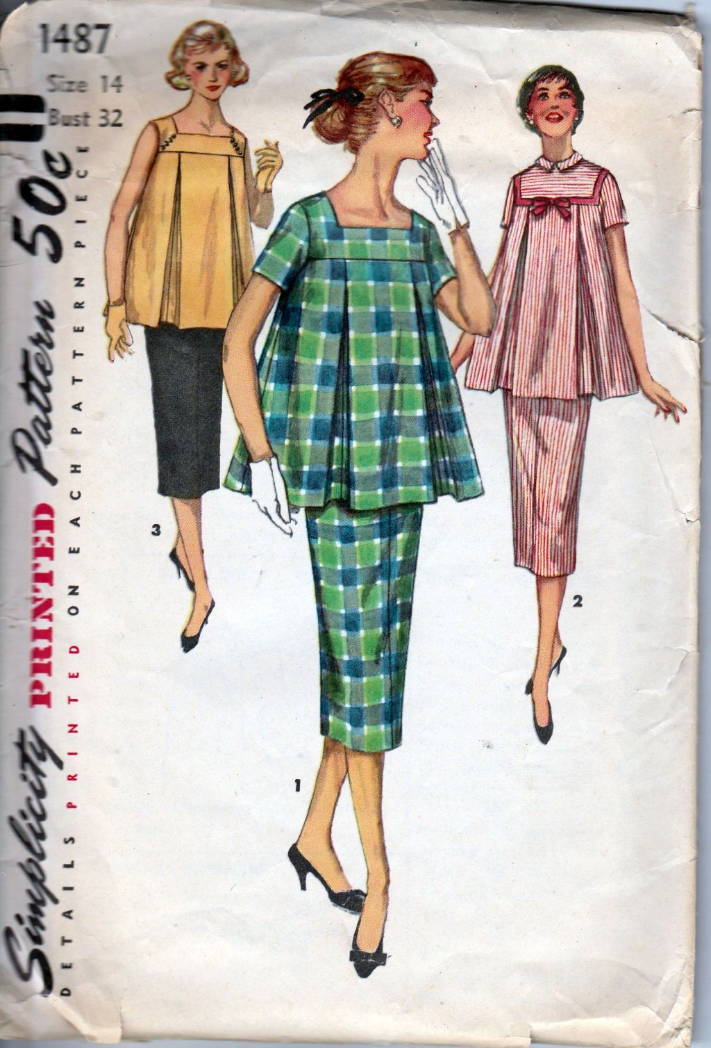 Simplicity 1487 Ladies Two Piece Maternity Dress Vintage Sewing Pattern 1950's - VintageStitching - Vintage Sewing Patterns