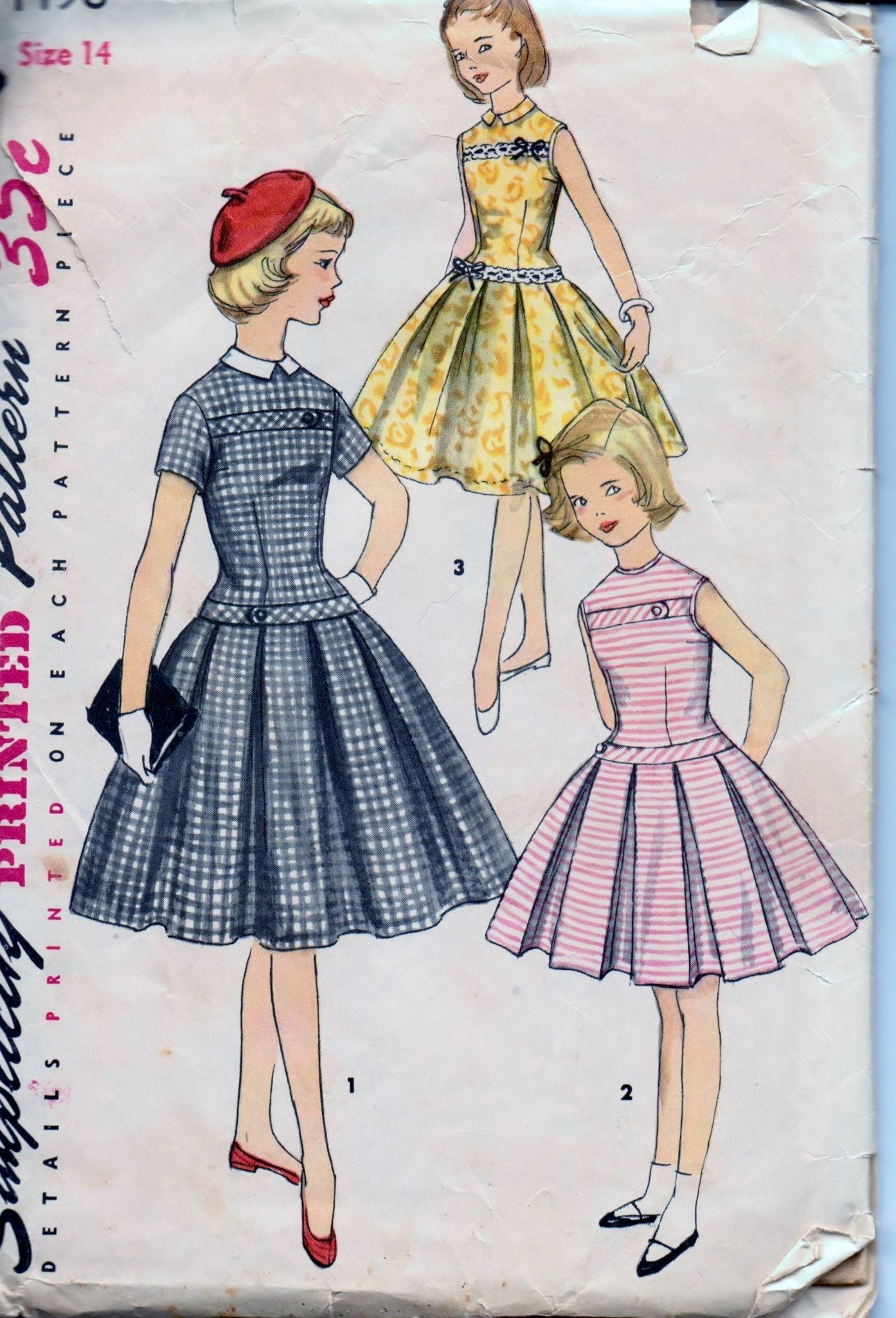 Simplicity 1496 Young Girls Pleated Dress with Detachable Collar Vintage 1950's Sewing Pattern - VintageStitching - Vintage Sewing Patterns