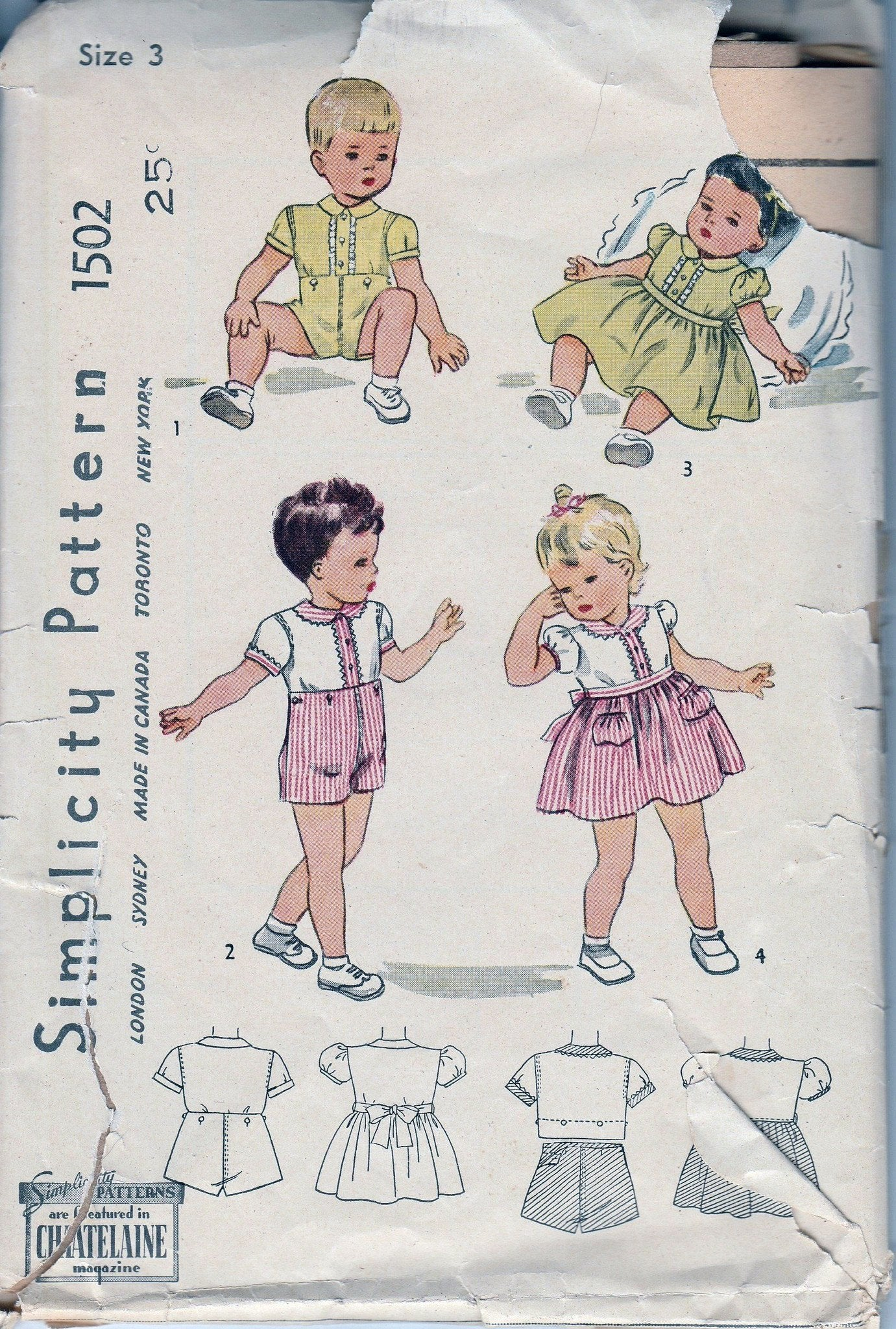 Simplicity 1502 Toddler Boys Two Piece Suit Girls Dress Vintage Pattern 1940's - VintageStitching - Vintage Sewing Patterns