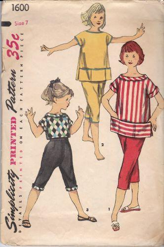 Simplicity 1600 Vintage Pattern Girls Pedal Pushers Children 1950's - VintageStitching - Vintage Sewing Patterns