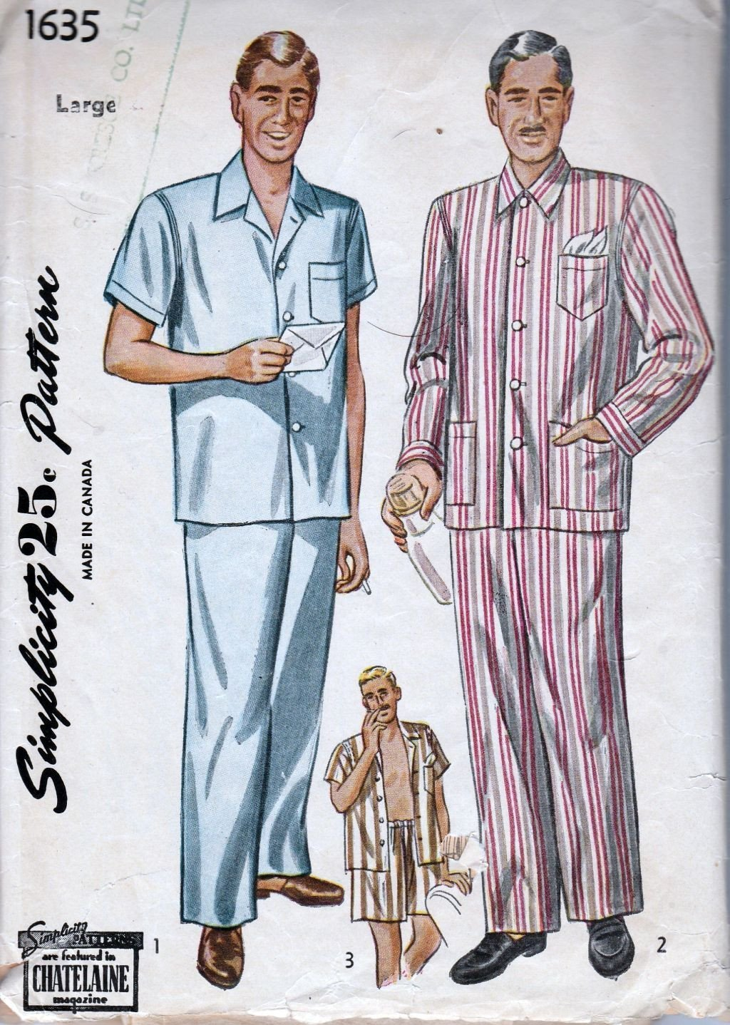Simplicity 1635 Vintage 1940's Sewing Pattern Mens' Pajamas Long Short Pants - VintageStitching - Vintage Sewing Patterns