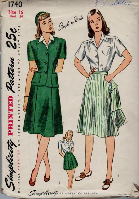Simplicity 1740 Ladies Suit Blouse Skirt Shorts Vintage 1940's Sewing Pattern - VintageStitching - Vintage Sewing Patterns