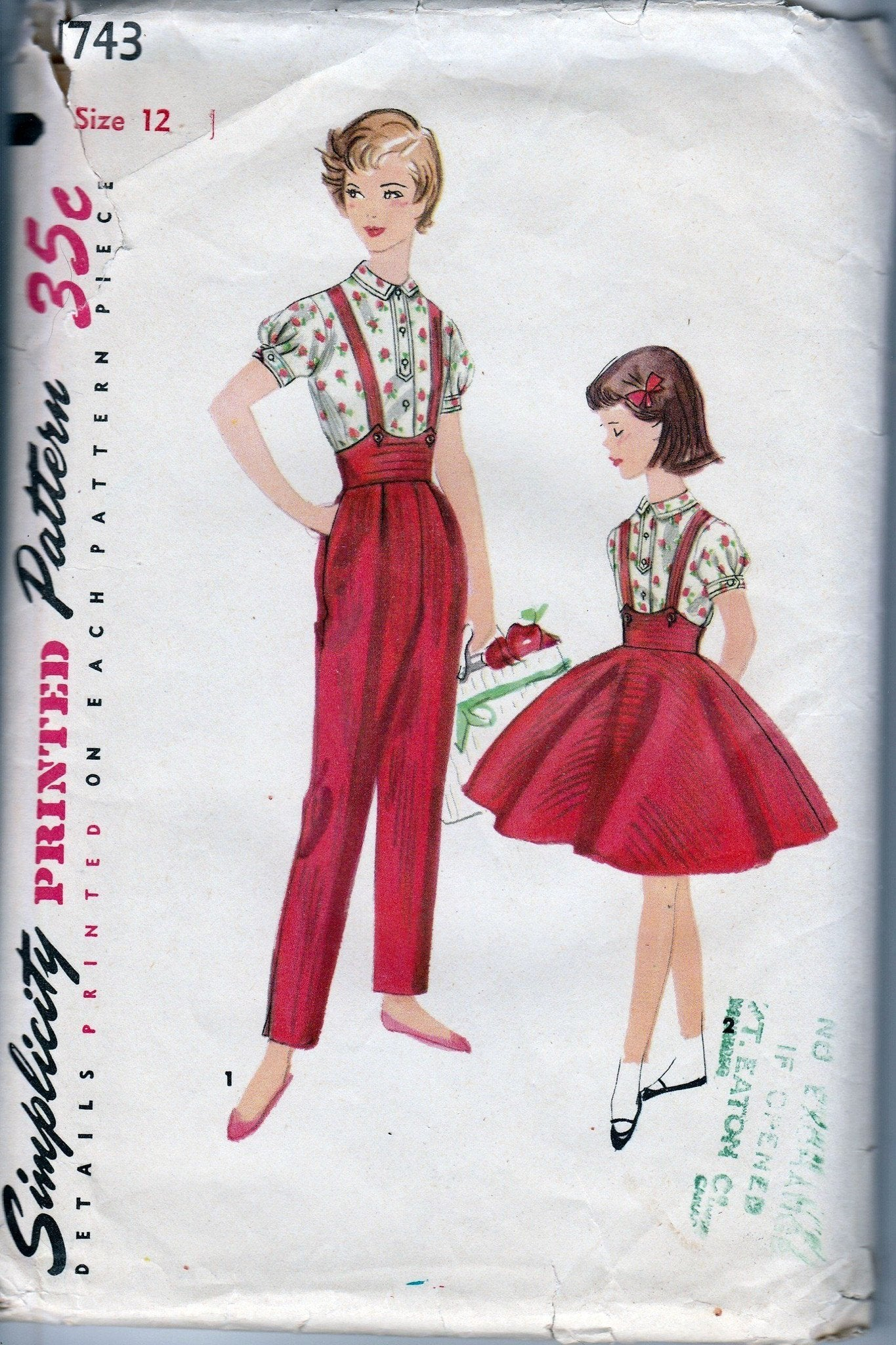 Simplicity 1743 Girls Blouse Suspender Skirt Pants Vintage Pattern 1950's - VintageStitching - Vintage Sewing Patterns