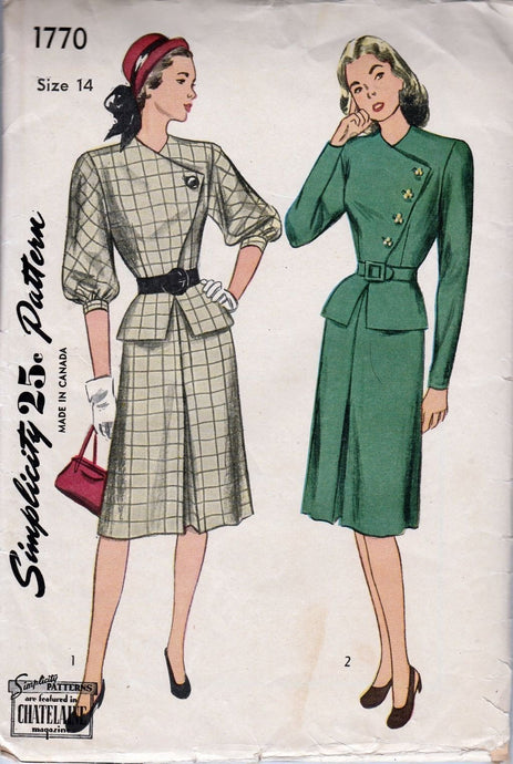 Simplicity 1770 Vintage 1940's Sewing Pattern Ladies Asymmetrical Dress Peplum Jacket Slim Skirt - VintageStitching - Vintage Sewing Patterns