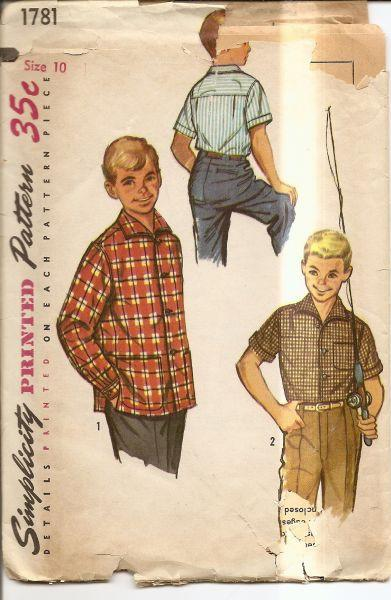 Simplicity 1781 Vintage Sewing Pattern 1950's Boys Shirt - VintageStitching - Vintage Sewing Patterns