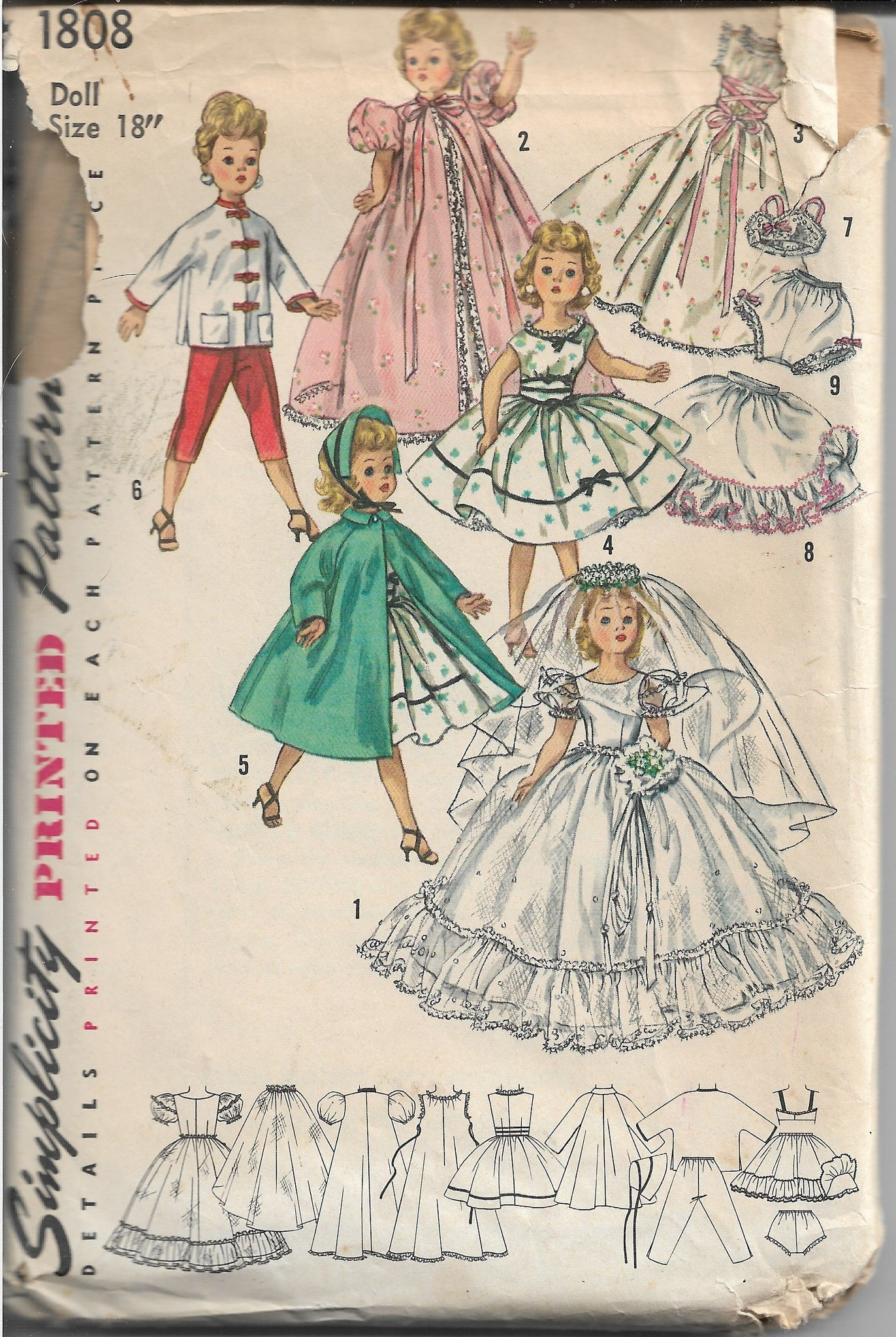 Simplicity 1808 Doll Clothing Vintage Sewing Pattern 1950s - VintageStitching - Vintage Sewing Patterns