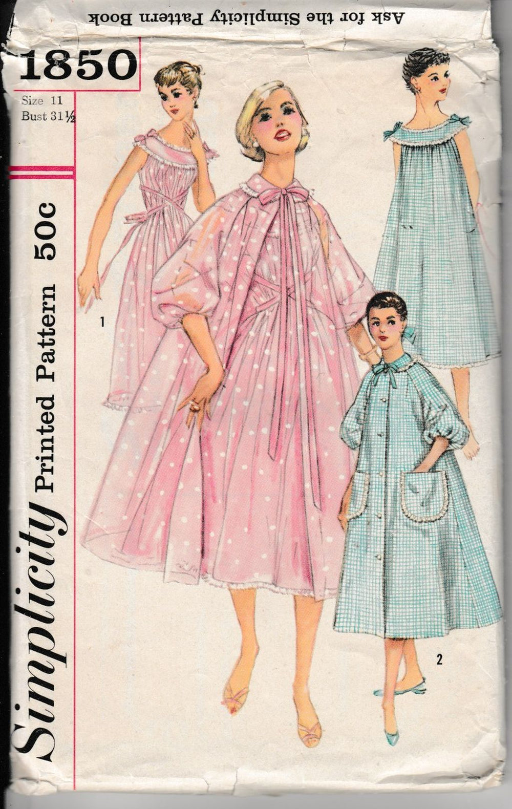 Simplicity 1850 Junior Teen Nightgown Negligee Brunch Coat Lingerie Vintage 1950's Pattern - VintageStitching - Vintage Sewing Patterns