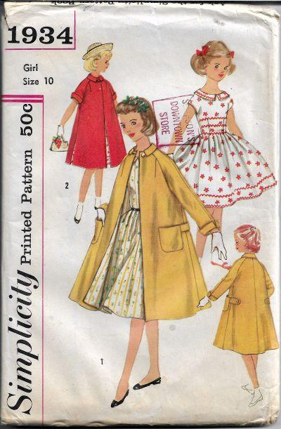 Simplicity 1934 Girls Party Dress Coat Vintage Sewing Pattern 1950s - VintageStitching - Vintage Sewing Patterns