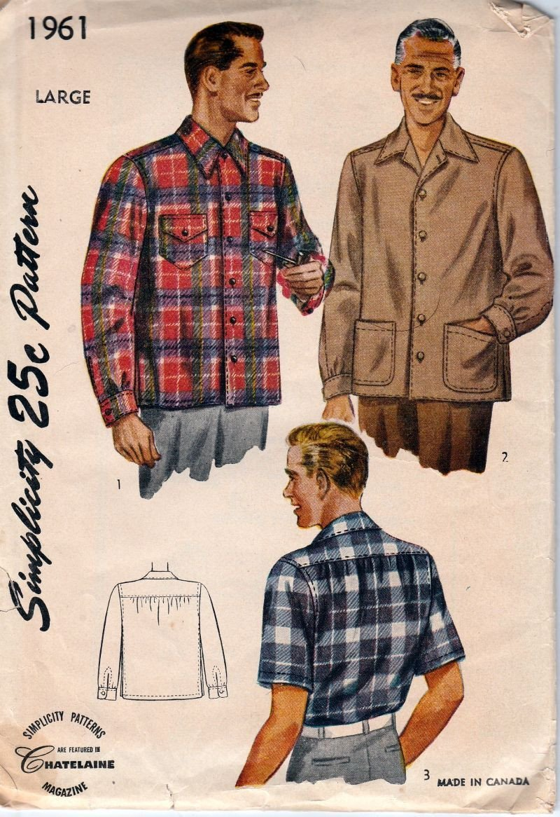 Simplicity 1961 Vintage 1940's Sewing Pattern Mens Casual Day Shirt - VintageStitching - Vintage Sewing Patterns