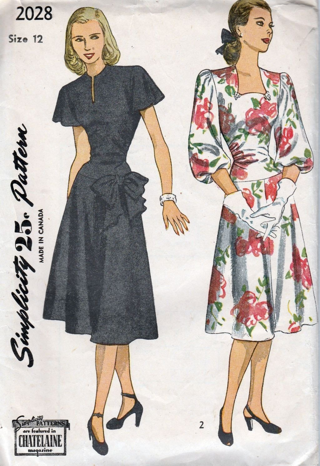 Simplicity 2028 Vintage 1940's Sewing Pattern Ladies Party Dress Lowered Waist Bow - VintageStitching - Vintage Sewing Patterns
