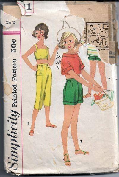 Simplicity 2101 Girls Shirt Crop Top Bra Pants Vintage Sewing Pattern 1950s - VintageStitching - Vintage Sewing Patterns