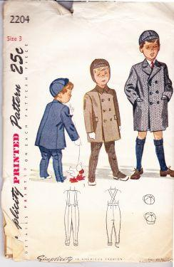 Simplicity 2204 Boys Coat Cap Leggings Vintage 50's Sewing Pattern - VintageStitching - Vintage Sewing Patterns