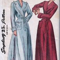 Simplicity 2236 Vintage 1940's Sewing Pattern Ladies Robe Housecoat Brunch - VintageStitching - Vintage Sewing Patterns