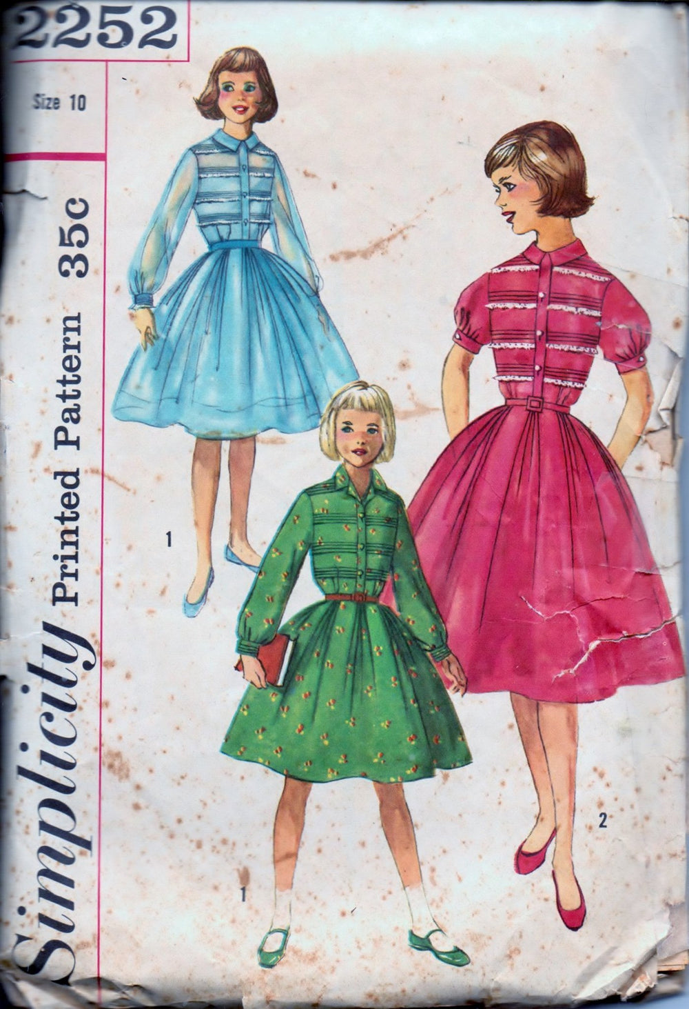 Simplicity 2252 Girls One-Piece Shirtwaist Dress Vintage 1950's Sewing Pattern - VintageStitching - Vintage Sewing Patterns