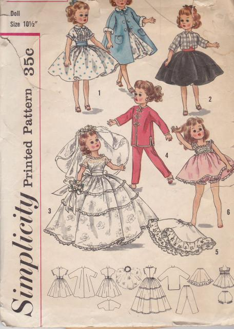 Simplicity 2254 Baby Doll Clothes Dress Petticoat Top Vintage Pattern 1950's - VintageStitching - Vintage Sewing Patterns
