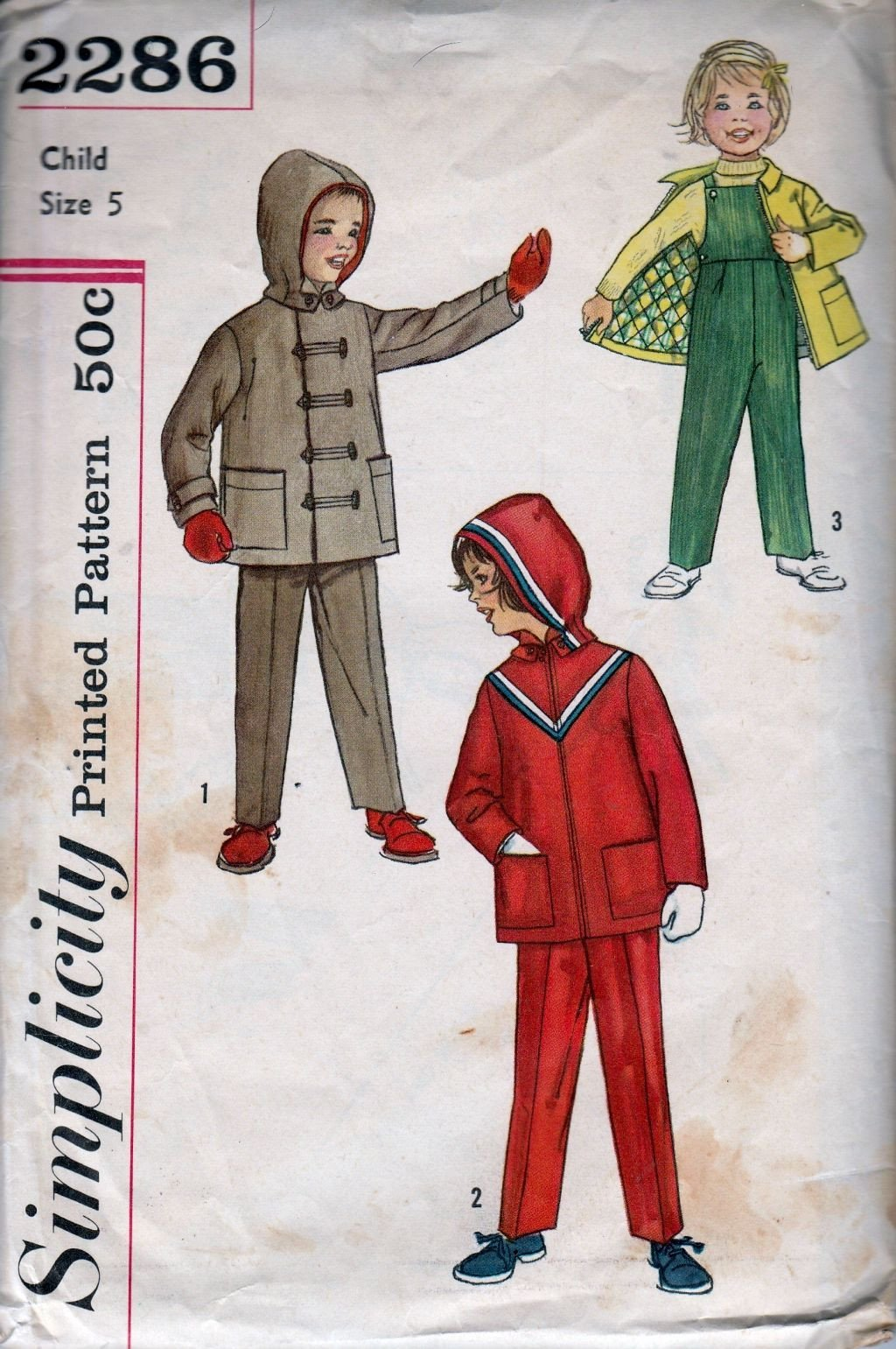 Simplicity 2286 Vintage 1950's Sewing Pattern Childrens' Jacket Suspender Pants - VintageStitching - Vintage Sewing Patterns
