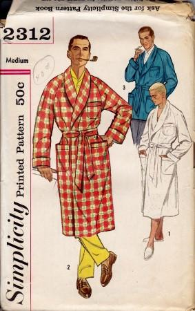 Simplicity 2312 Vintage Sewing Pattern Mens Robe Lounge Jacket 1950's - VintageStitching - Vintage Sewing Patterns