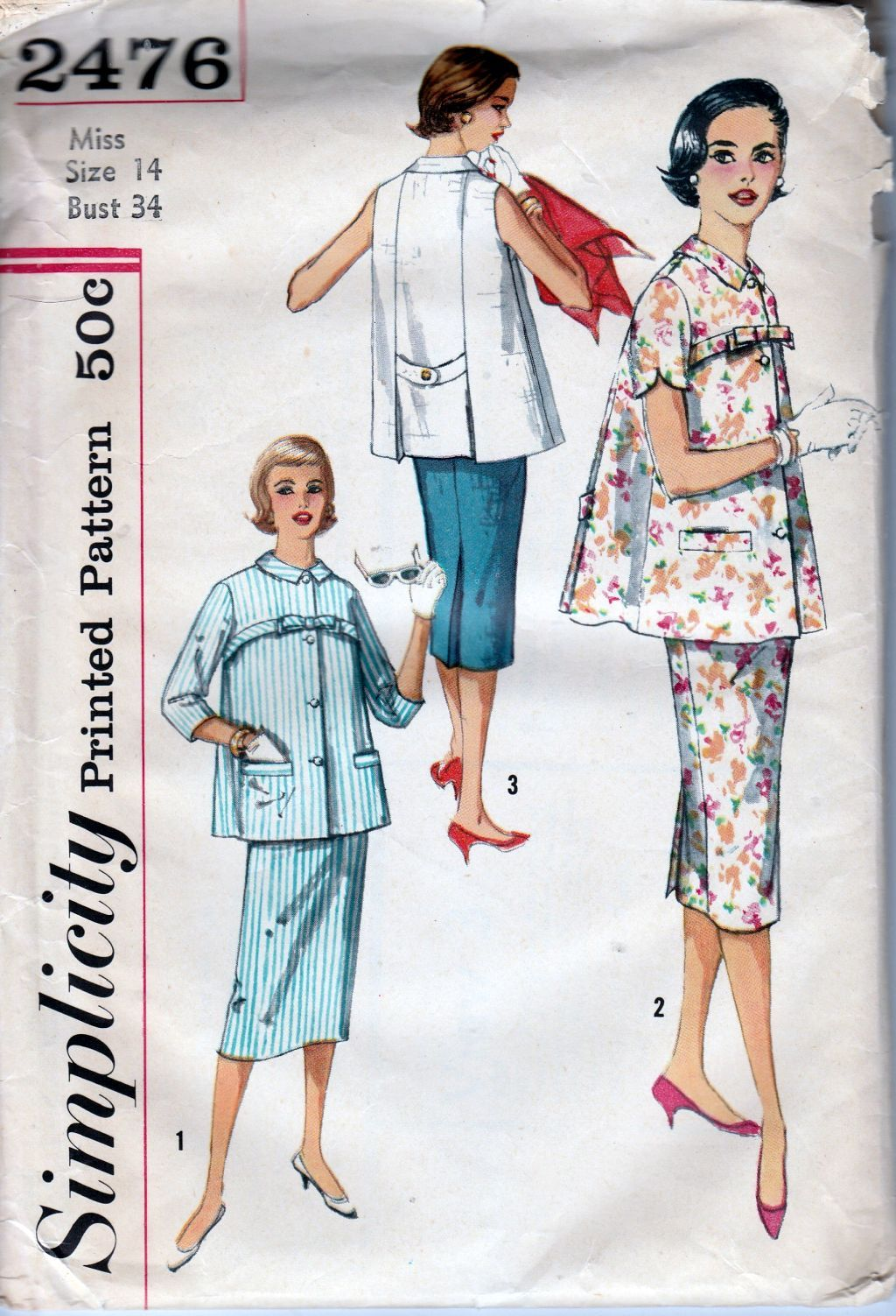 Simplicity 2476 Ladies Maternity Suit Dress Vintage Sewing Pattern 1950's - VintageStitching - Vintage Sewing Patterns