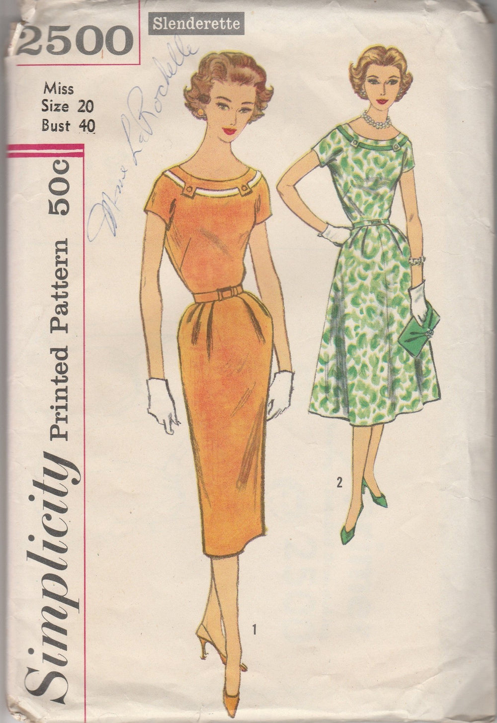 Simplicity 2500 Ladies Sheath Dress Vintage 1950's Sewing Pattern Slenderette - VintageStitching - Vintage Sewing Patterns