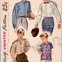 Simplicity 2543 Boys Shirt Vintage 1940's Sewing Pattern - VintageStitching - Vintage Sewing Patterns