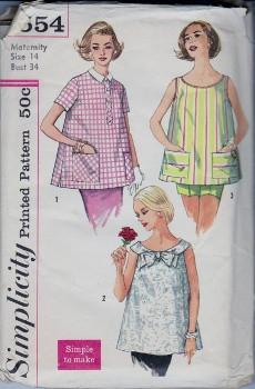 Simplicity 2554 Misses Maternity Smock Top Vintage 1960's Sewing Pattern - VintageStitching - Vintage Sewing Patterns