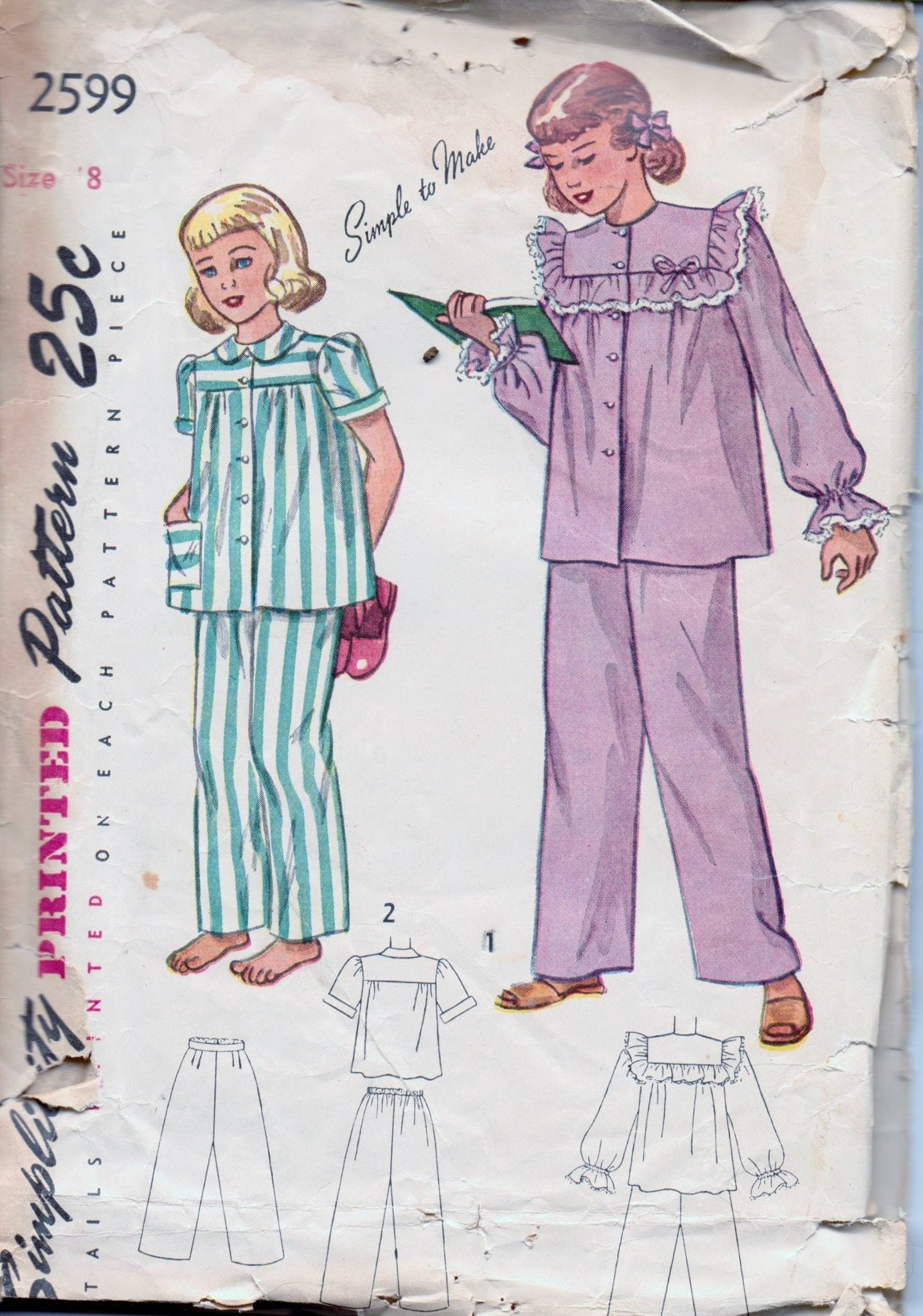 Simplicity 2599 Young Girls Two Piece Pajamas PJ's Vintage 1940's Sewing Pattern - VintageStitching - Vintage Sewing Patterns