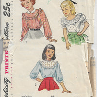 Simplicity 2658 Girls Blouse Vintage 1940's Sewing Pattern - VintageStitching - Vintage Sewing Patterns