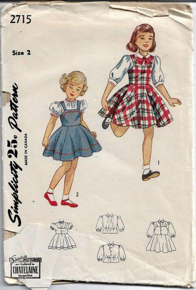 Simplicity 2715 Vintage Sewing Pattern 1940s Little Girls Jumper Dress Blouse - VintageStitching - Vintage Sewing Patterns