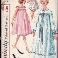 Simplicity 2749 Ladies Lingerie Nightgown Baby Doll Pajamas Vintage Pattern 1950's - VintageStitching - Vintage Sewing Patterns