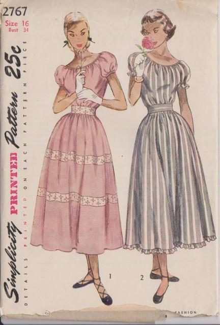 Simplicity 2767 Misses Cocktail Party Dress Scoop Neck Puff Sleeves Vintage 1940's Pattern - VintageStitching - Vintage Sewing Patterns