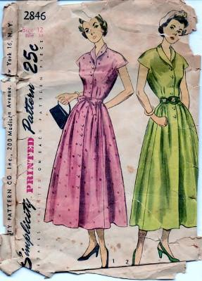 Simplicity 2846 One-Piece Shirtwaist Dress Vintage 1950's Sewing Pattern - VintageStitching - Vintage Sewing Patterns