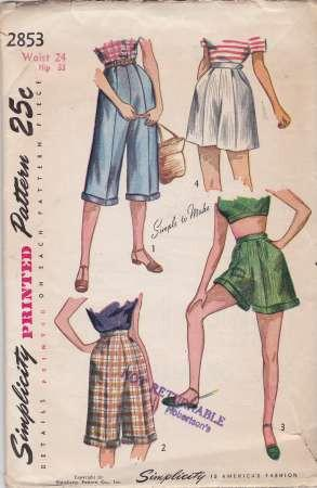 Simplicity 2853 Ladies Shorts Pedal Pushers Vintage 1940's Sewing Pattern - VintageStitching - Vintage Sewing Patterns