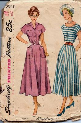 Simplicity 2910 Ladies Shirtwaist Dress Extended Shoulders Vintage 1940's Sewing Pattern - VintageStitching - Vintage Sewing Patterns