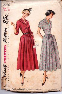 Simplicity 2920 Ladies One-Piece Shirtwaist Dress Vintage 1940's Sewing Pattern - VintageStitching - Vintage Sewing Patterns