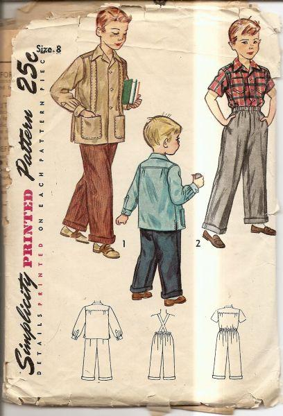 Simplicity 2969 Vintage 1940's Sewing Pattern Boys Pants & Shirt - VintageStitching - Vintage Sewing Patterns