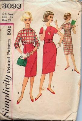 Simplicity 3093 Sub-Teen Sheath Dress and Jacket Vintage 1950's Sewing Pattern - VintageStitching - Vintage Sewing Patterns