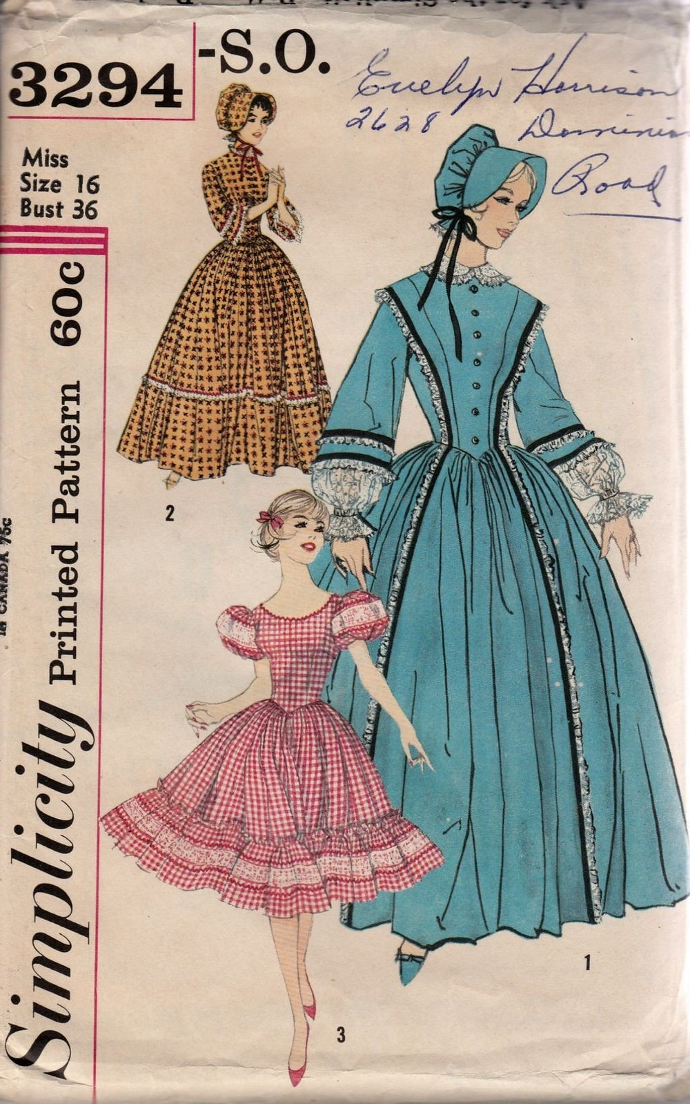 Simplicity 3294 Vintage 1950's Sewing Pattern Ladies Centennial Costime Square Dance Dress - VintageStitching - Vintage Sewing Patterns