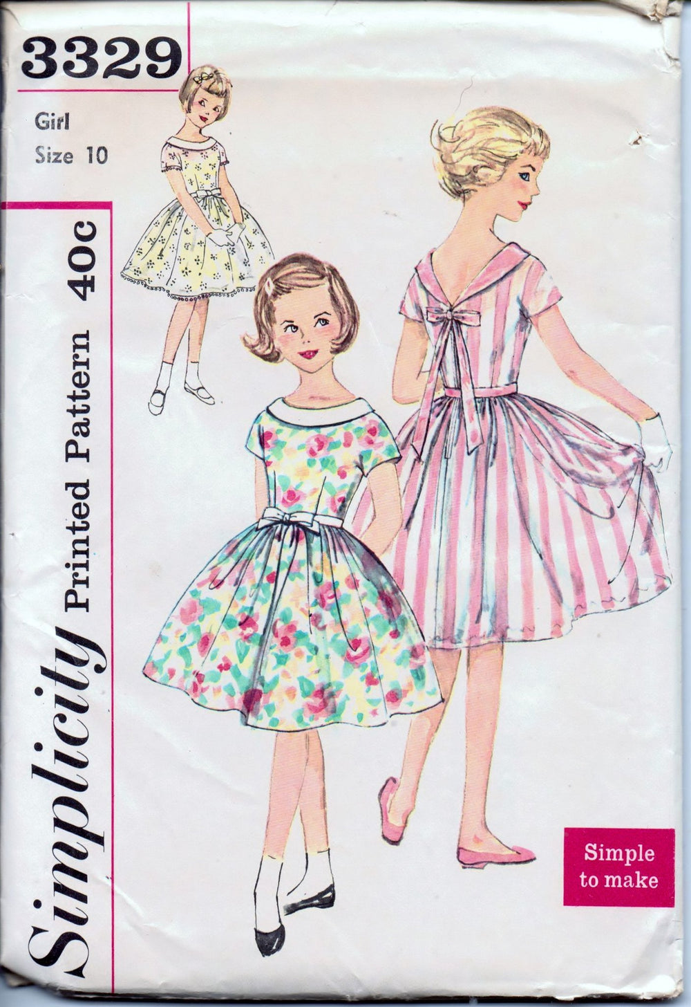 Simplicity 3329 Young Girls Dress with Roll Collar Simple To Make Vintage 1960's Sewing Pattern - VintageStitching - Vintage Sewing Patterns