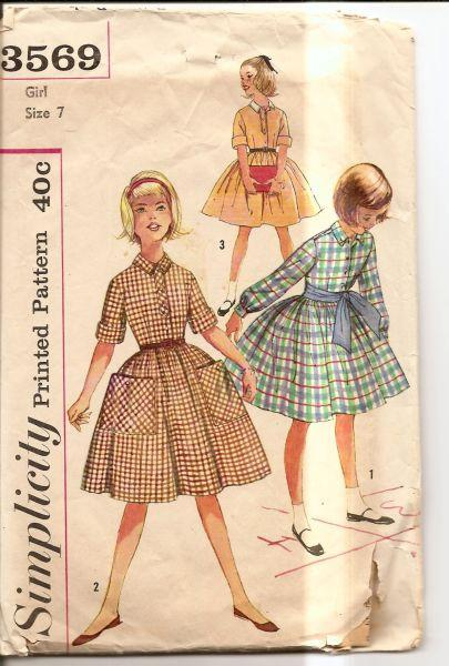 Simplicity 3569 1960's Vintage Sewing Pattern Girls One Piece Dress - VintageStitching - Vintage Sewing Patterns