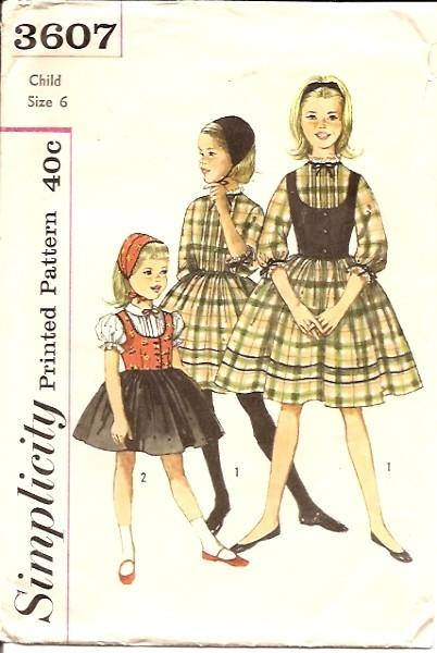 Simplicity 3607 1950's Vintage Sewing Pattern Girls' One- Piece Dress - VintageStitching - Vintage Sewing Patterns