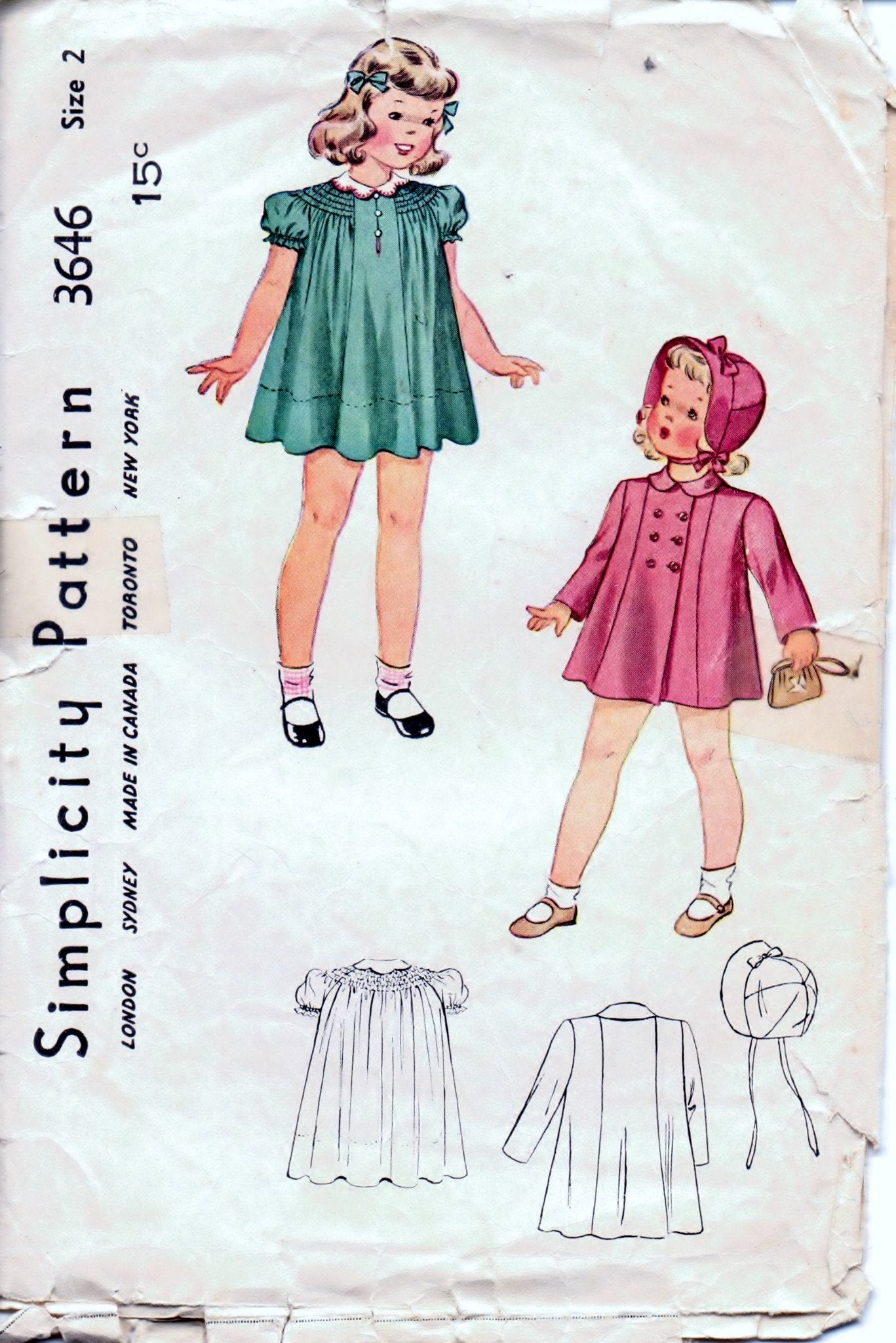 Simplicity 3646 Toddler Little Girls  Dress Coat Hat Vintage 1940's Sewing Pattern Unprinted - VintageStitching - Vintage Sewing Patterns