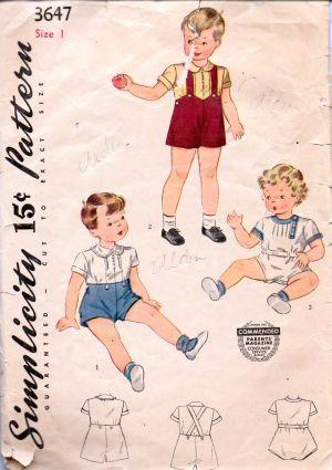 Simplicity 3647 Toddlers Romper Set Blouse Shorts Vintage Pattern - VintageStitching - Vintage Sewing Patterns