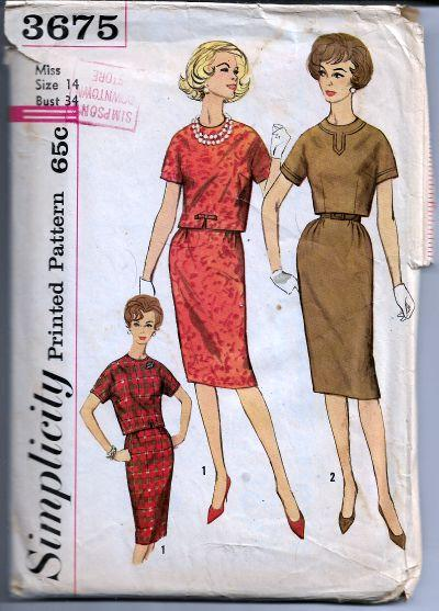 Simplicity 3675 Vintage Sewing Pattern 1960s Ladies Slim Skirt Top - VintageStitching - Vintage Sewing Patterns