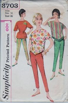 Simplicity 3703 Misses V Waist Top Pencil Pants Vintage 1960's Sewing Pattern - VintageStitching - Vintage Sewing Patterns