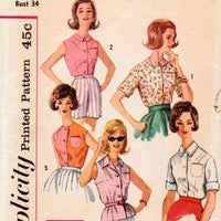 Simplicity 3745 Ladies Summer Sleeveless Blouse Vintage 1960's Pattern - VintageStitching - Vintage Sewing Patterns
